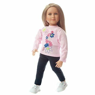 """My Twinn (23"""") 4Pc. Pink Flowers Outfit~ Floral front Shirt, Leggings, Shoes"""