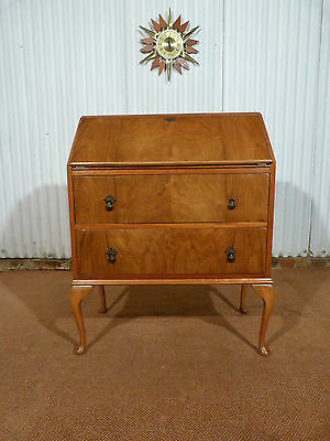 Beautiful yew bureau on queen anne cabriolet legs