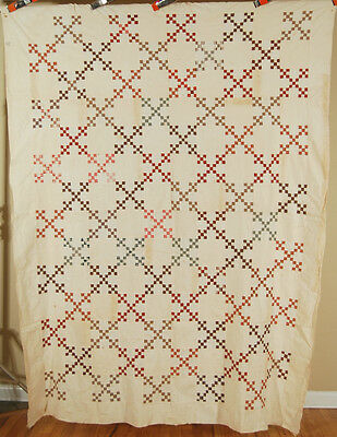AMAZING 1870's Double 9-Patch Postage Stamp Antique Quilt Top ~MINIATURE PIECES!