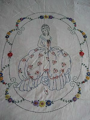 """Vintage Embroidered Southern Belle Quilt Top 72"""" X 90"""" On Muslin"""