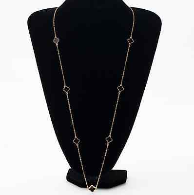 New 4 Clover Chain Extra Long Women Necklace (Gold) Uk Seller