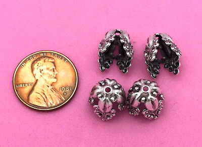 10 Mm-Antique Silver Plated Brass Rococco Style Bead Caps - 6 Pc