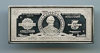 $5 Five Dollar Porthole Banknote ~ Silver Plated Copper Bar
