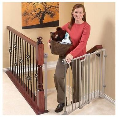 Evenflo Top Stairs Baby Child Gate Metal Brown Easy Walk Thru Extra Safety