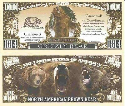 Grizzly North American Brown Bear Dollar Bills x 4 Ursus Arctos Horribilis