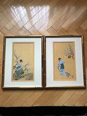 Pair Of Asian Girls Paintings On Silk In Gold Bamboo Frames 13x17