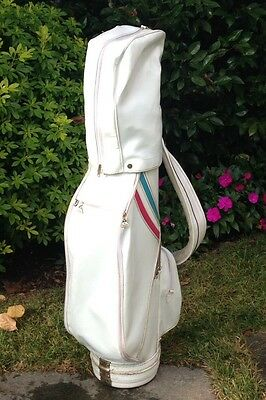 SACCA da golf IN PELLE BIANCA vintage;  White LEATHER Golf bag -GREAT CONDITIONS