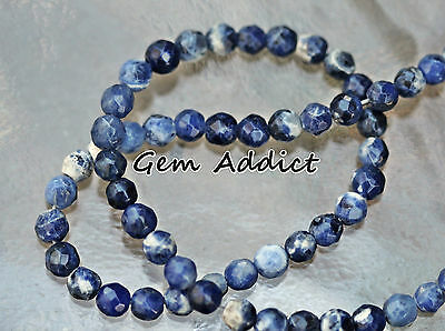 "Genuine Blue White Sodalite 6mm Faceted Round Beads 13.5"" Strand 15g/75cts"