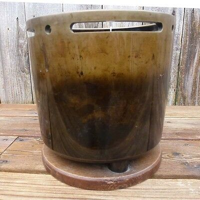 Vintage Japanese Bronze Hibachi On Attached Wood Stand, Mid-Century