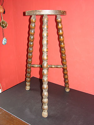 Antique Vintage Tall Half Moon French Milking Stool 3 Spindle Legs Rustic