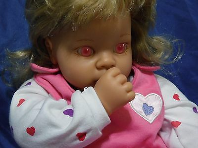 """Lee Middleton Reva 18"""" Girl Doll w/ Heart Outfit 011400(2) Yr 2000 Big Pink Eyes"""