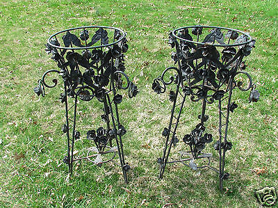 2 Antique Vintage Ornate Roses Iron Metal Plant Stands Holder Toleware NR