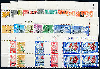 Swaziland 1968 Definitives Sg142/160 Blocks Of 4 Mnh
