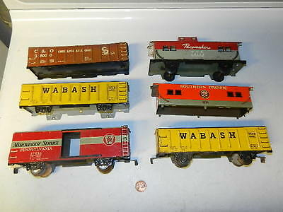 Lot of 6 Marx 7 inch tin litho freights, for parts, restoration, customization,?