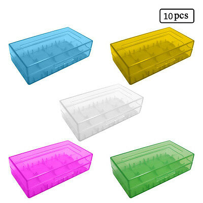 10Pcs Hard Plastic Battery Storage Boxes Cases Holder For 2 x 18650 16340 CR123A