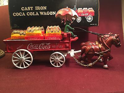 Coca Cola Cast Iron Wagon With Driver, Horses And Crates W/ Box Nice Collectable