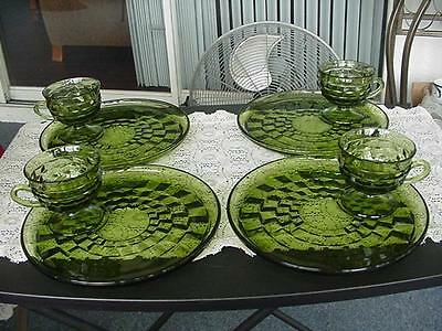 Vintage Indiana Glass Whitehall Green Cubist Set Of 4 Snack Plates & Cups