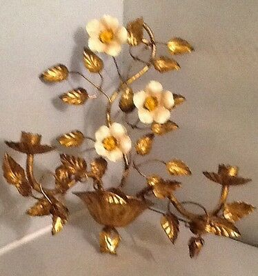 Vintage  Italian Tole Gold Gilt Wall Sconce / Candleholder Enameled Flowers