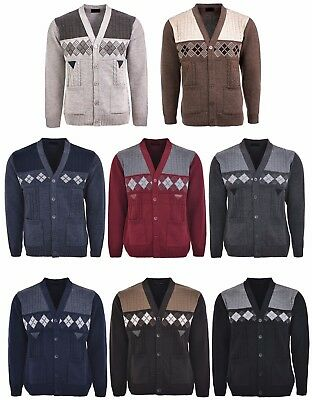 Men's Knitted Cardigan Classic Style V Neck Button WITH POCKETS