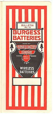 BURGESS BATTERY B WIRELESS ILLUSTRATED BROCHURE CATALOG 1920's