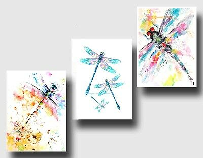 3 x Dragonfly A4 Poster Prints water colour painting  Home Decor Art