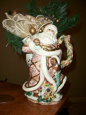 Fitz And Floyd Large Christmas Holiday Snowy Woods Santa Centerpiece Vase -