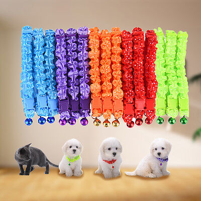 New Style Small Dog Puppy Cat Polyester Collar Bell - quick release safety clip