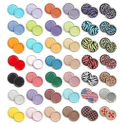 "500pcs New MIX FLAT DOUBLE SIDED COLORS 1"" BOTTLE CAPS Flattened Linerless"