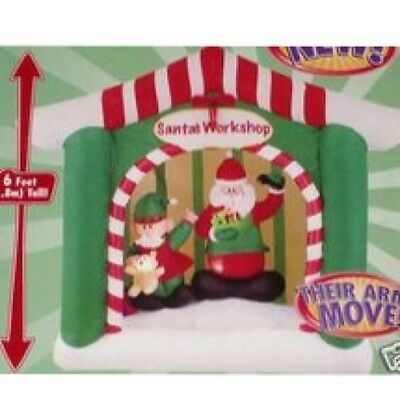 Rare 6' Lighted Animated Christmas Santas Workshop Inflatable Airblown Blow-up