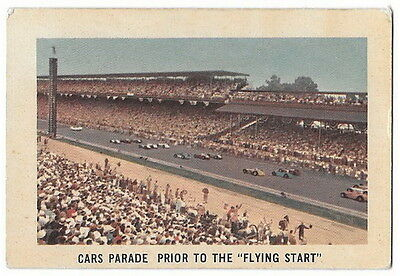 1960 Parkhurst Hawes Wax Indy Card # 50 Cars Parade Prior To The Flying Start