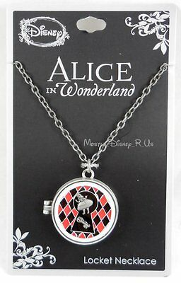 New Disney Alice In Wonderland Curious Stained Glass Locket Pendant Necklace