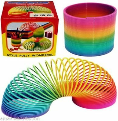 12 X Rainbow Coloured Spring Childrens Toy Springs Bouncy Toy Party