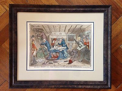 Framed James Gillray 'Search Night' Hand Coloured Etching Engraving Cartoon
