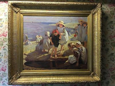 Large Victorian Oil Painting Of Children / Seaside - Gold Frame Antique Art