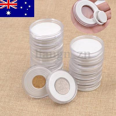 20pcs 46mm Clear Round Display Cases Coin Plastic Storage Capsules Holder Box