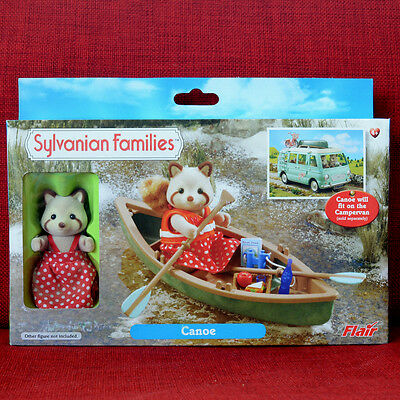 Calico Critters Sylvanian Families CANOE BOAT WITH RACOON Flair