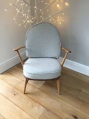 Ercol windsor chair with new grey wool cushions