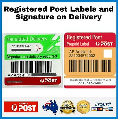Registered Post Label and Signature On Delivery Australia Post Tracking Labels