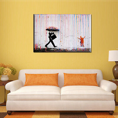 Banksy street art Colorful Rain canvas painting Picture Wal Home decor Unframed
