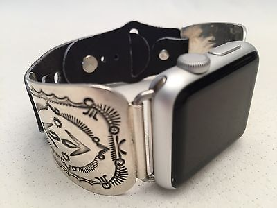 Handcrafted Native American Sterling Silver Apple WATCH Band 38mm