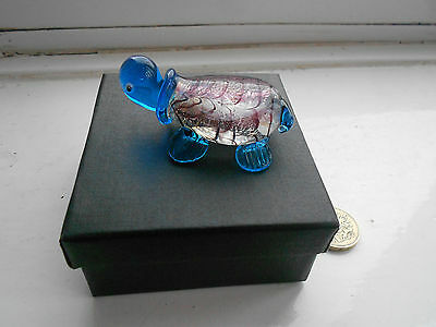 Turtle - Beautiful - Coloured Glass, Blue And Mauve Miniature Turtle - Boxed