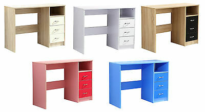 High Gloss Kid's 3 Drawer Study Desk/Dressing Table. White, Blue or Pink