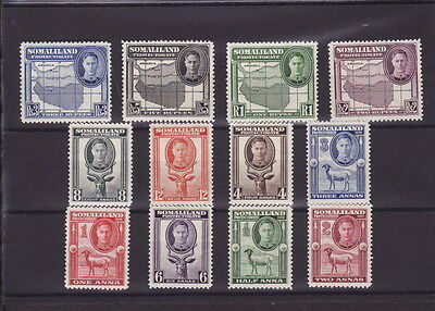 Somaliland Protectorate British Africa 1942 Complete 12 Stamps Set - Fine Mint