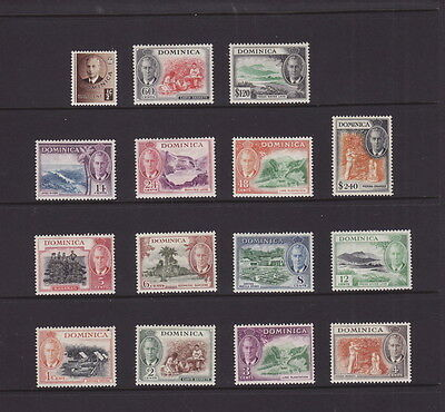 DOMINICA 1951 NEW CURRENCY KGVI DEFINITIVE COMPLETE SET 15 STAMPS to $2.40 MINT