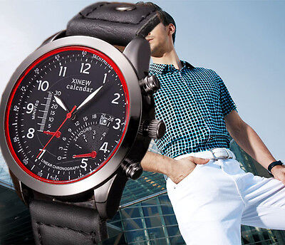 Waterproof Military Leather Analog Army Men's Quartz Sport Wrist Watches GIFT