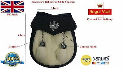 Child Kilt Sporran/Kids Sporran/Semi Dress Baby Kilt Sporran White Rabbit