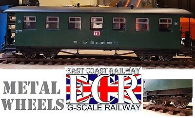 NEW G SCALE 45mm GAUGE RAILWAY METAL WHEEL PASSENGER GREEN CARRIAGE COACH TRAIN