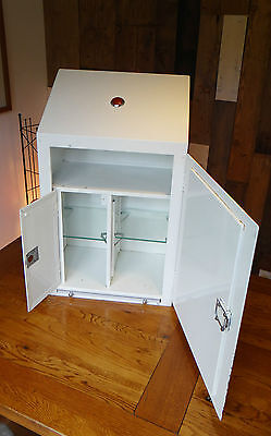 Vintage 70's Industrial Metal Hospital Drug Cabinet/Locker- Red warning light!