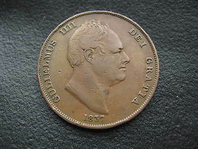1837 Penny. - William Iv. Rare - Low Mintage - One Penny Coin .