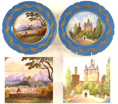 PAIR ANTIQUE FRENCH SEVRES STYLE PORCELAIN PLATES LOUIS PHILIPPE NAMED CHATEAU c